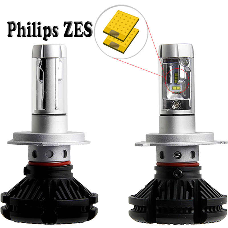 2pcs X3 car headlight Bulbs 50W 6000k H4 led H7 LED Car lamp of cars 6000lm 12v ZES Chip H1 H11 9005 HB3 9006 HB4 LED fog lights