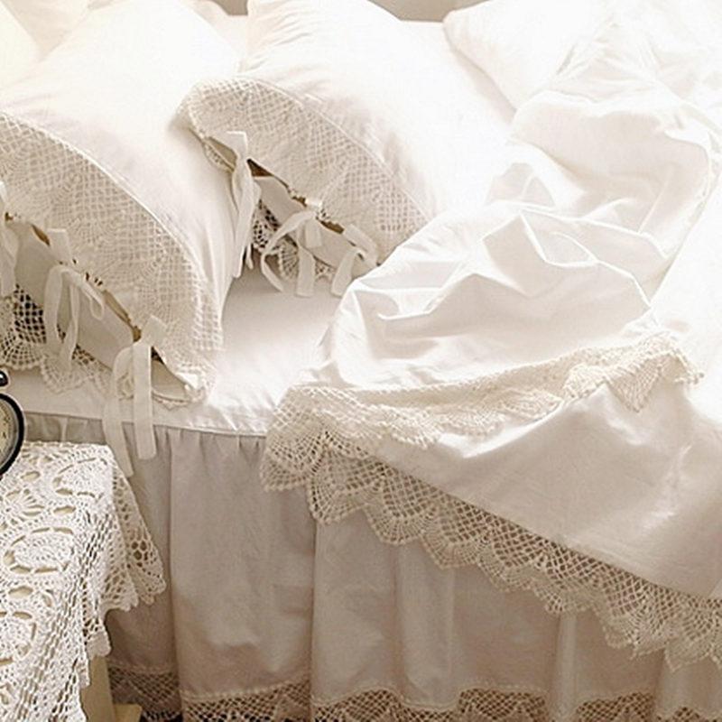 Top Romantic Bedding Set Elegant European Wide White Satin Duvet Cover Crochet Lace Bedspread Cotton Wedding Bedding Bedskirt