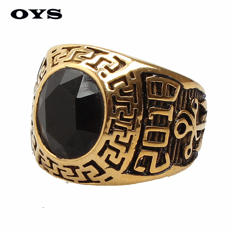 Hot Sale Punk Gothic Vintage Style 316L Stainless Steel 2018 Anchors Black Onyx Gold Ring for Men Birthday Gift Wholesale