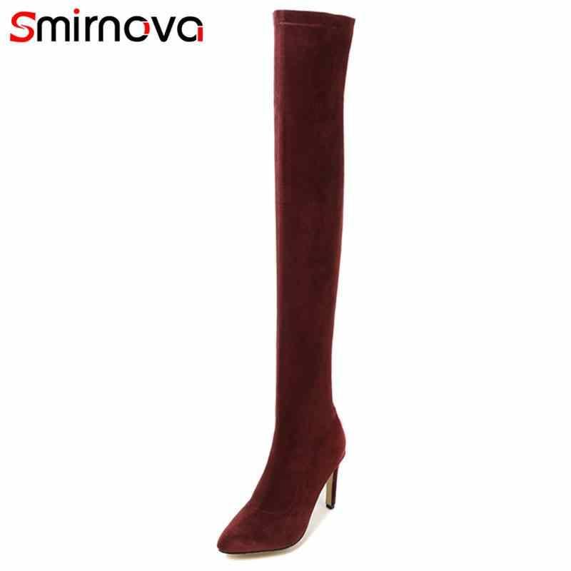 Smirnova 2018 חמה אופנה רוכסן מעל הברך מגפי נשים עקבים גבוהים דקים הבוהן מחודדת זמש עור מגפי נעליים יומיומיות גודל 33 -43