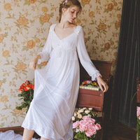 2019 New Palace Style Nightgown Women Plus Size Long Lace White Cotton Sleepwear Full Sleeve Casual Night Dress Sleep Shirt Lady