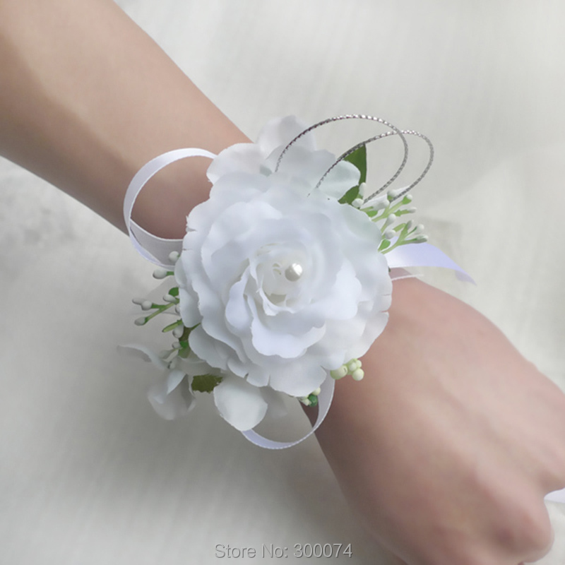 artificial flowers for wedding prom wrist corsage rose. Black Bedroom Furniture Sets. Home Design Ideas