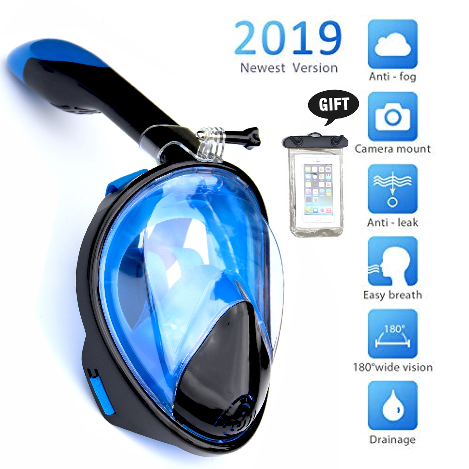 Snorkeling Mask Set Full Face Diving Mask Anti-Fog Free Breathing 180 Panoramic Wide View Scuba Swmiming Mask