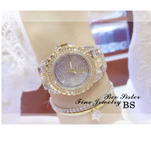 Womens High-End Waterproof Chain Watch Fashion New Hot Ladies Custom Full Rhinestone