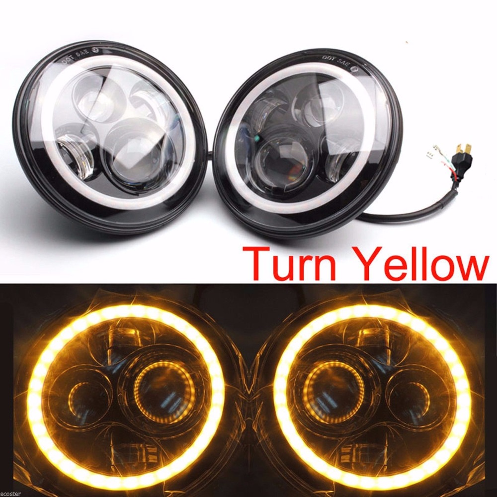 New Design 7 INCH H4 Round Black Projector LED Headlight Lamp DRL Halo Ring for Jeep Wrangler JK LJ FJ Cruiser Hummer