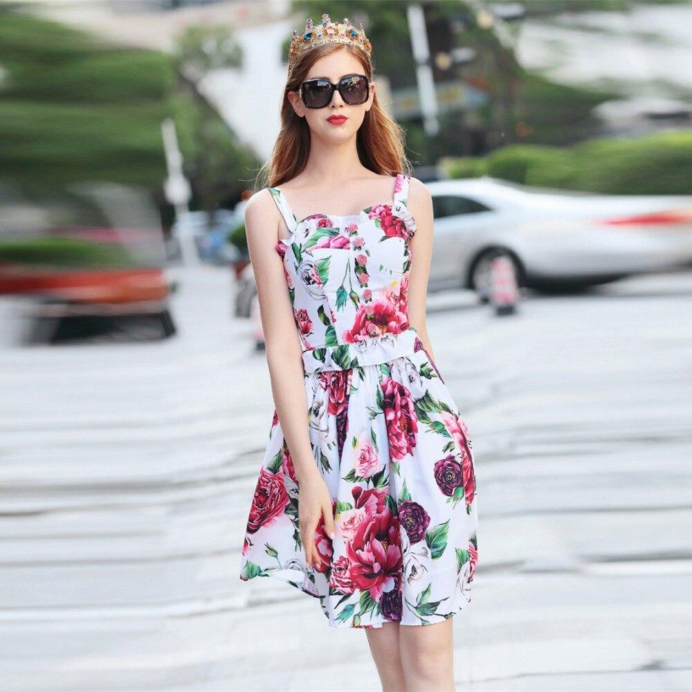 Imprimé Top Mini Designer De D'été Jupe Qualité Fleur Costume Set Haute Bouton Rose Sangle Femmes Truevoker Avec Fantaisie aq6gw5vw