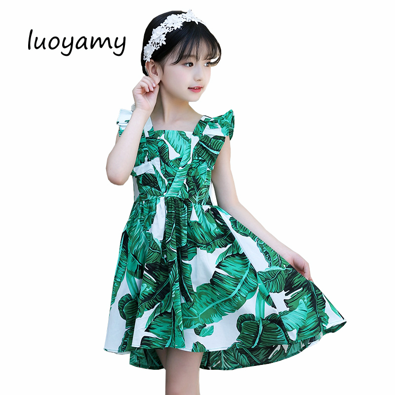 luoyamy 2018 Summer Girls Green Leaves Printed Dresses Baby Children Princess Ball Gown Wedding Asymmetrical Clothes Kids Dressluoyamy 2018 Summer Girls Green Leaves Printed Dresses Baby Children Princess Ball Gown Wedding Asymmetrical Clothes Kids Dress