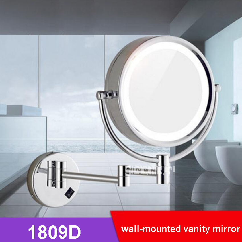 1809D Wall Mounted Makeup Mirror 8 Inch Brass LED Light Double-sided Foldable 3X Magnifying Cosmetic Mirror Bathroom Wall Mirror professional 8 inch led light wall mounted folding cosmetic mirror 5x magnifying led makeup mirror bathroom mirror for gift