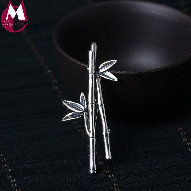 100% 925 Sterling Silber Brosche Anhänger Vintage Bambus Verlässt Handgemachte Anlage Chinesischen Stil Pins Original Design Schmuck Yx02 Gesundheit Effektiv StäRken