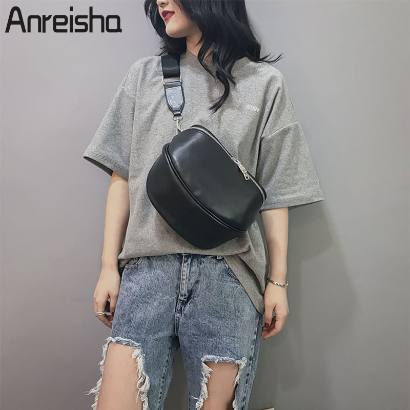 Anreisha 2018 Summer Classical Waist Bag For Women Soft PU Leather Fanny Bag Pack Multi-function Chest Bags Girl Belt Phone Pack