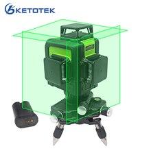 3D лазерный уровень 12 линий США/ЕС штекер самонивелирующий 360 горизонтальный вертикальный зеленый лазерный луч линия перезаряжаемая батарея импульсный режим