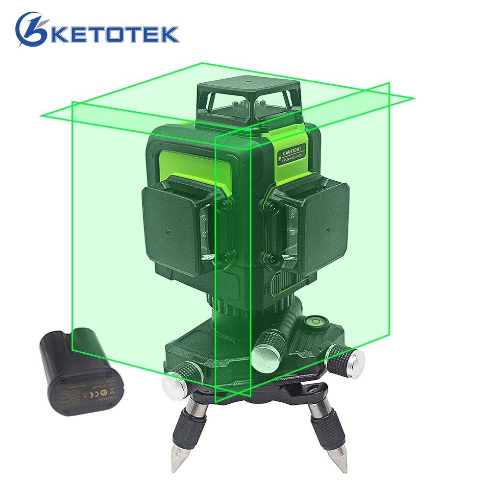 3D Laser Livello di 12 linee US/Spina di UE Self-Leveling 360 Orizzontale Verticale Linea di Fascio Laser Verde Ricaricabile modalità di Impulso della batteria