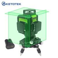 3D Laser Level 12 lines US/EU Plug Self Leveling 360 Horizontal Vertical Green Laser Beam Line Rechargeable Battery Pulse Mode