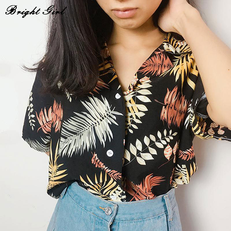 BRIGHT GIRL Women Blouse Summer Casual Shirts Loose Tops Tropical Plants Chiffon V-Neck Blouse Woman's Clothes Streetwear Blusas
