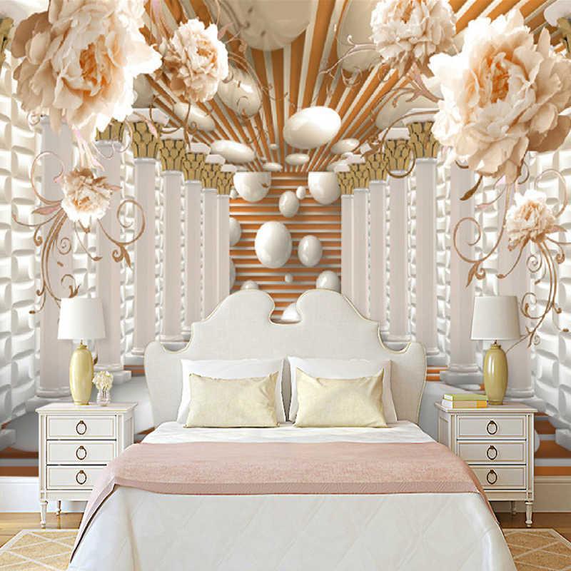 3D Coluna Roma Flor Foto Murais De Parede Papel De Parede Arte Abstrata Moderna Sala de estar Estudo de Fundo Papel de Parede Home Decor 3D afresco