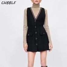 CHBBLF women V neck tweed mini dress buttons chains decoration vintage female sl