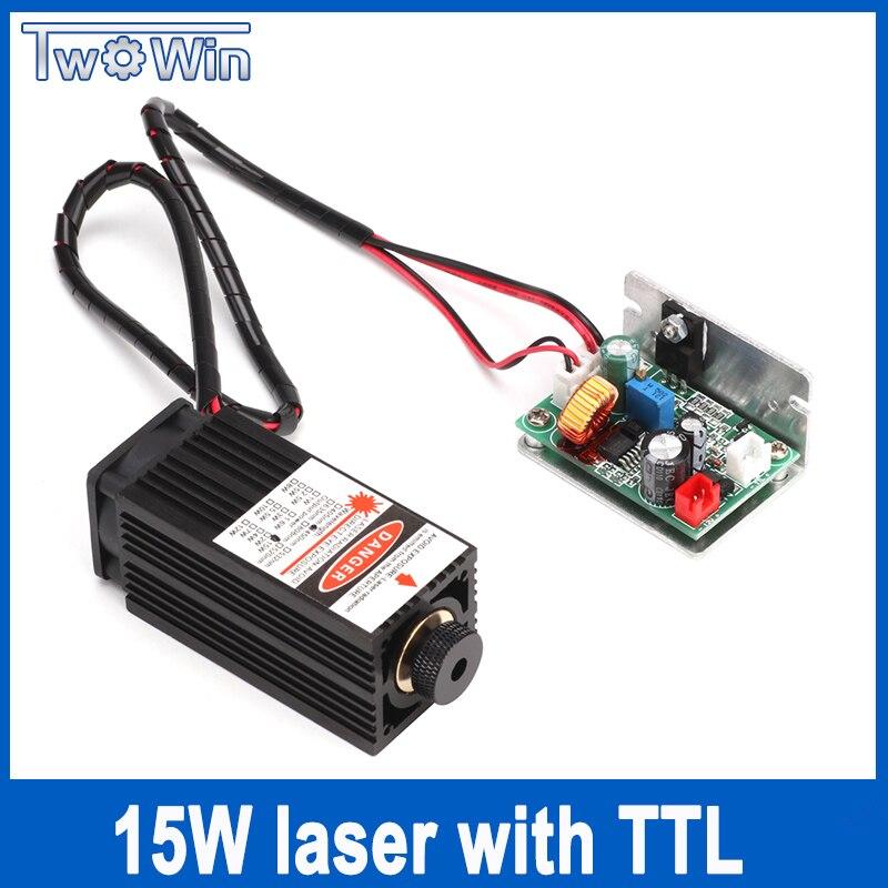 15 W Modulo Laser 450NM di Messa A Fuoco Blu Modulo Laser Incisione e Taglio Laser TTL Modulo 15000 mw Tubo Del Laser + Occhiali gratis