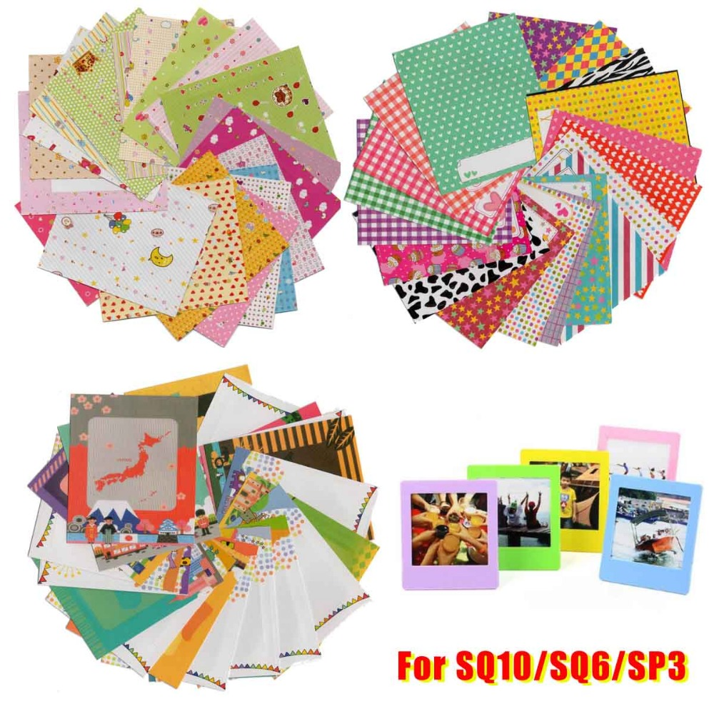 60x Films Cartoon Message Stickers / Colorful Stand Photo Frame / Wall album For Instax Square SQ20 SQ10 SQ6 SP3 Films DIY Diary-in Camera/Video Bags from Consumer Electronics