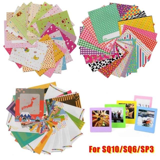 60x Films autocollants de Message de bande dessinée/support coloré cadre Photo/album mural pour Instax carré SQ20 SQ10 SQ6 SP3 Films bricolage journal
