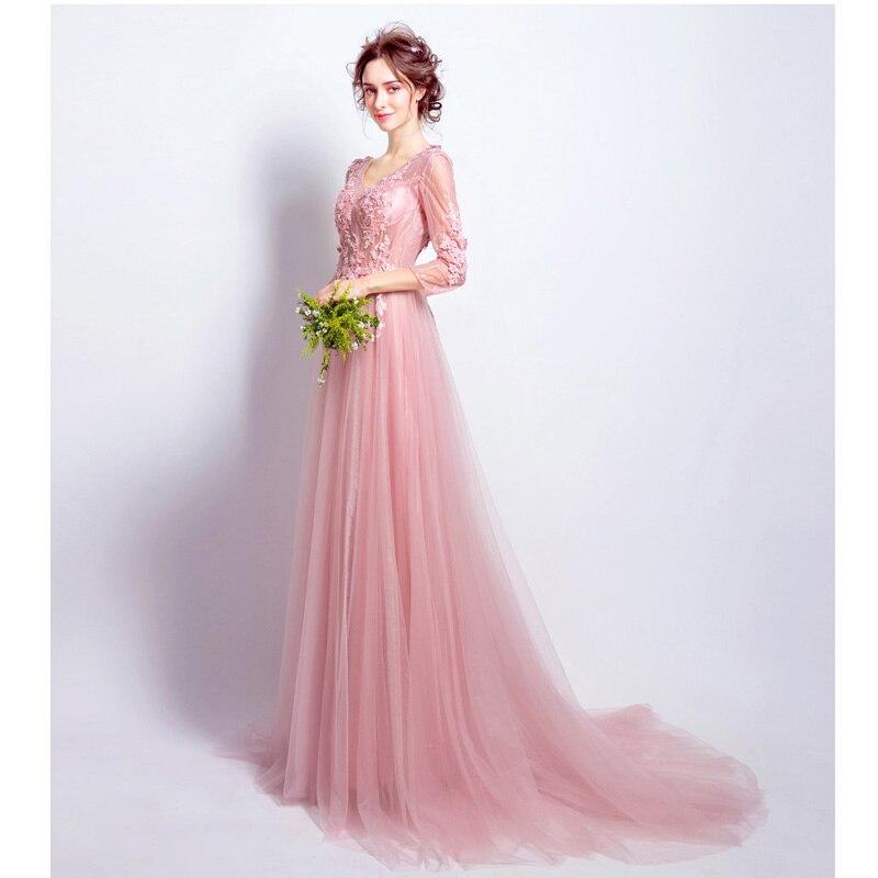 Baratos Elegante Rosa Largo Vestidos de Noche Con Cuello En V ...