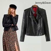 c56487f5c5f7c Jenny   Dave 2019 jaqueta de inverno mulheres jaqueta com imitação de Couro  trançado ombreiras casaco de inverno mulheres