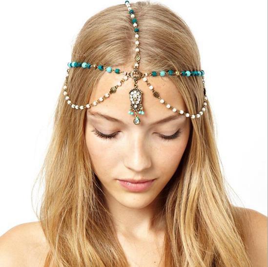 New Bohemian princess handmade beads tassel pearl headband