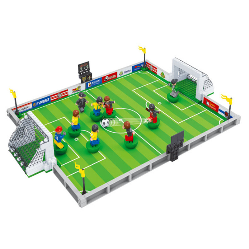 2017 World Cup Football Field Model Toys Building Blocks Brick Children educational toys Holiday gift world cup in south africa world cup model european soccer cup trophy custom football fans articles