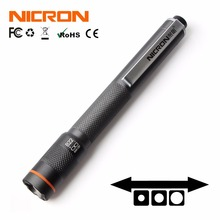 NICRON 1W 2xAAA 컬러 매치 펜 손전등 120LM 61M 빔 거리 방수 IP65 미니 홈 토치 램프 B22 유지 보수 등