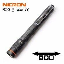 NICRON linterna de 1W y 2 colores xAAA, 120LM, 61M de distancia de haz, resistente al agua, IP65, Mini lámpara de antorcha para el hogar B22 para mantenimiento, etc.