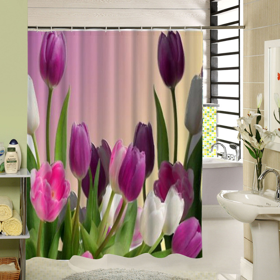 Watercolor Red Floral Shower Curtain Polyester Long Purple Flowers Bathroom  Curtain Decor Liner Washable Water Resistand In Shower Curtains From Home  ...