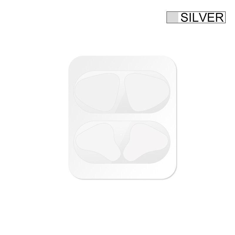 Металлическая Пылезащитная наклейка для Apple AirPods, чехол, Пыленепроницаемая защитная наклейка, защитная пленка для Air Pods, аксессуары - Цвет: Silver