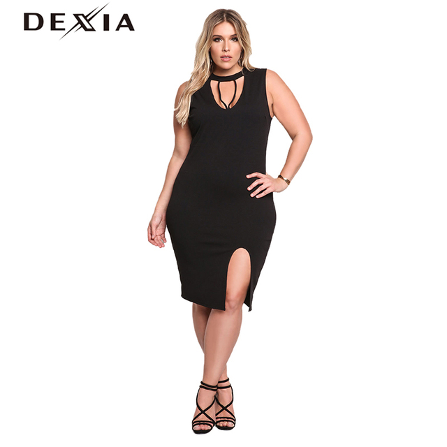 DEXIA Elegent Women Sweater Dress Big Size Halter Sleeveless Slit ...