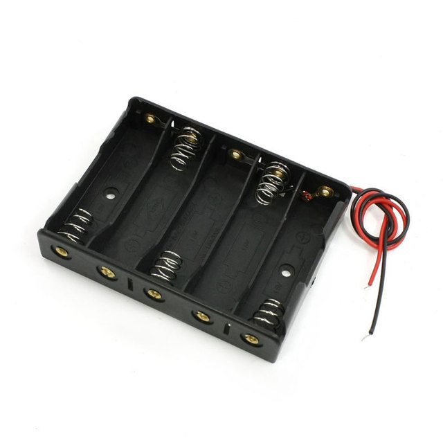 5pcs 1.5V AA Battery Slot Holder Case Box Wire Battery Storage Boxes Black