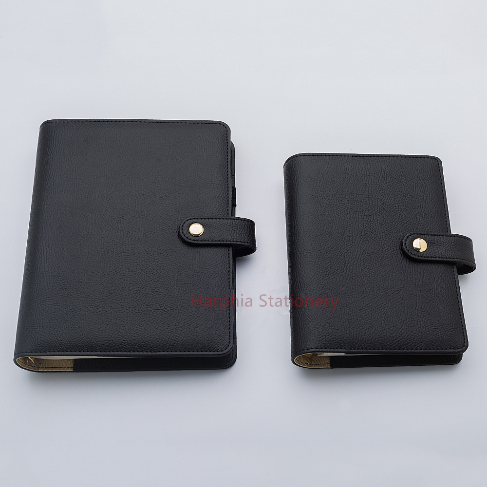 Harphia Refillable Notebook Diary Spiral Binder Journals Classic Snap Button Pure Black Organizer Accounts Records A5 A6 Agenda 5pcs lot high quality 2 pin snap in on off position snap boat button switch 12v 110v 250v t1405 p0 5