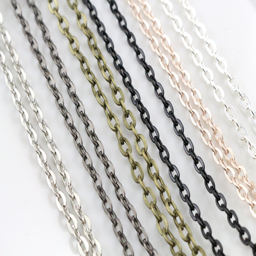 5pcs/lot 4*3mm Diameter 50 Cm 70cm Length 8 Colors Plated  Handmade Flattened Chain Necklace Connector For Charms Base And Tray