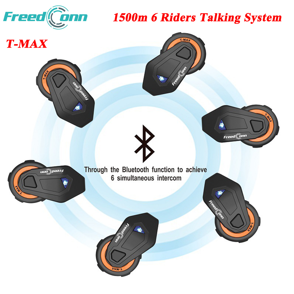 FreedConn 1500M T-Max Motorcycle Group Talking System 6 Riders BT Interphone with FM Radio Helmet Intercom Headset 1000m motorcycle helmet intercom bt s2 waterproof for wired wireless helmet