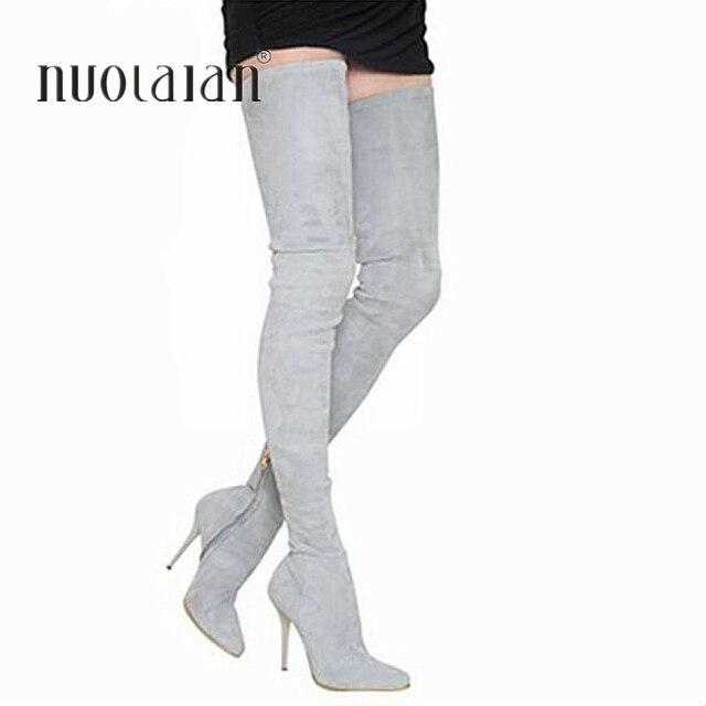 2018 marka sonbahar kış kadın çizmeler uzun streç ince uyluk yüksek çizmeler moda diz çizmeler üzerinde yüksek topuklu ayakkabı kadın