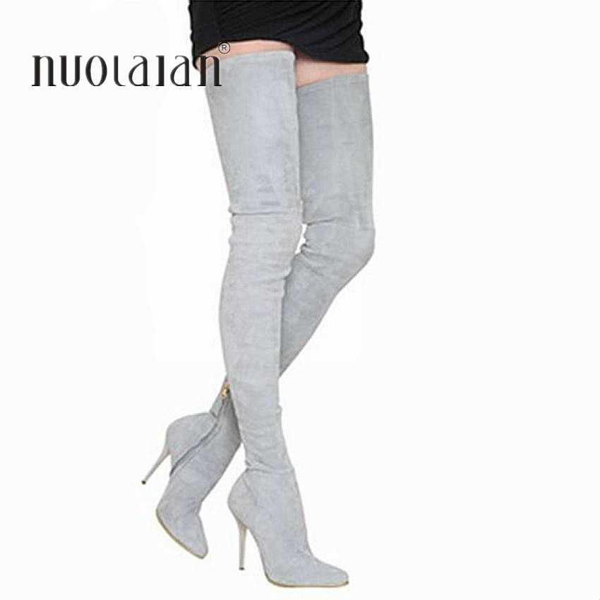 2019 Marka Sonbahar Kış Kadın Çizmeler Uzun Streç Ince Uyluk Yüksek Çizmeler Moda Diz Çizmeler üzerinde Yüksek Topuklu Ayakkabılar kadın