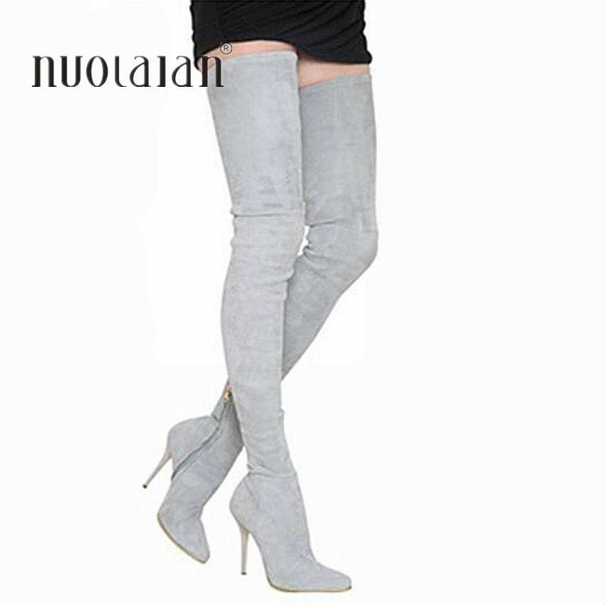 2019 מותג סתיו חורף נשים מגפי ארוך למתוח Slim ירך גבוהה מגפי אופנה מעל הברך מגפיים גבוהה עקבים נעליים אישה