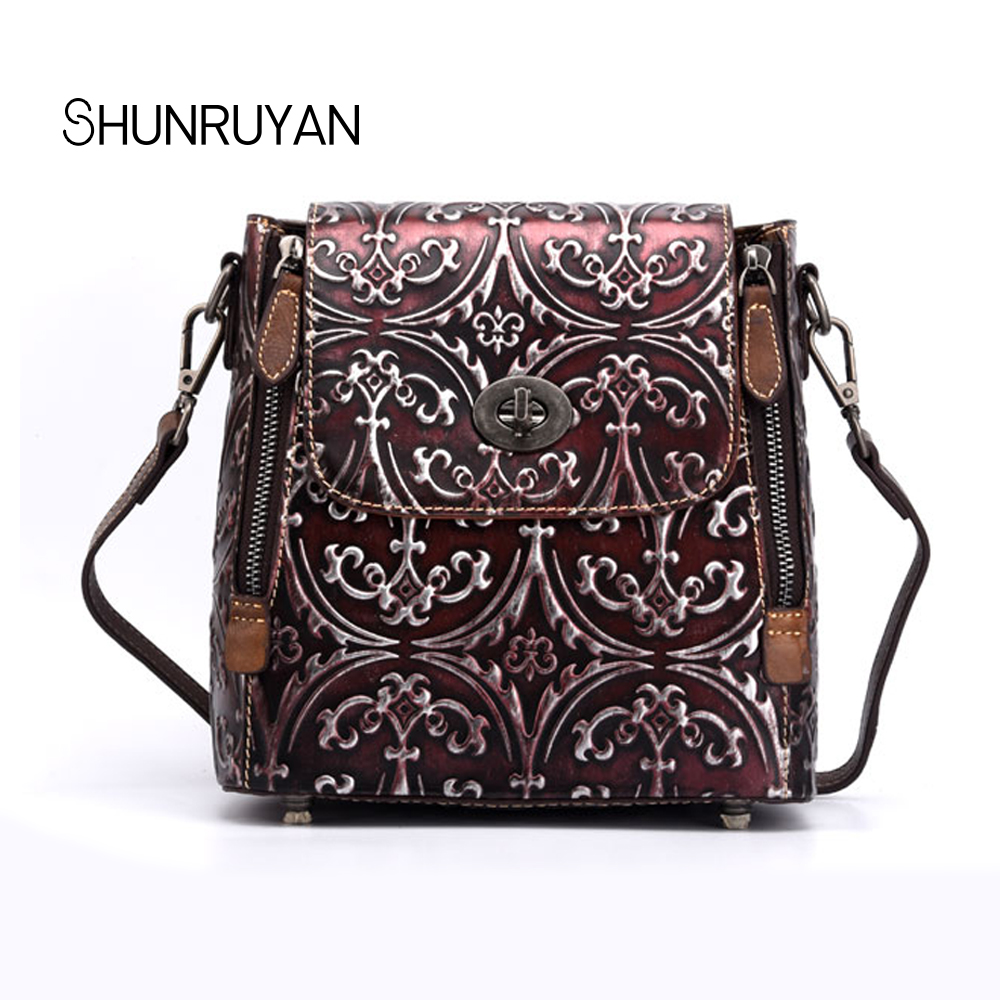 SHUNRUYAN New Ladies cover Backpacks Famous Brand Printing Cowhide Leather Women  For Female Tote Bags