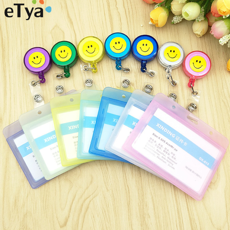 ETya  Women Men Transparent Card & ID Holders PVC Bank Bus Credit Card Holder Cover Kid's Student Card Protector Cover Bag Case