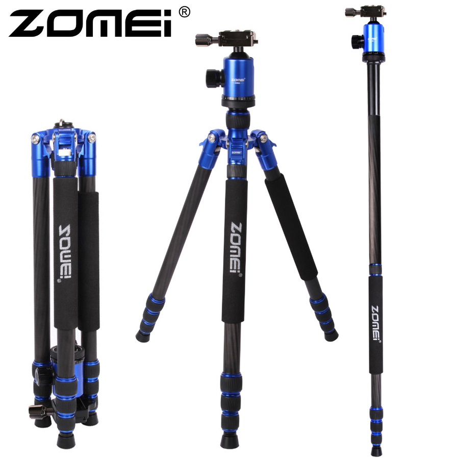 ZOMEI Z888C Professional Travel tripod Carbon Fiber camera Monopod Stand & Ball head with Bag for DSLR camera 5 Color available manbily cz 305 professional carbon fiber tripod for camera can changed monopod ball head 3 colors are optional free ship by dhl