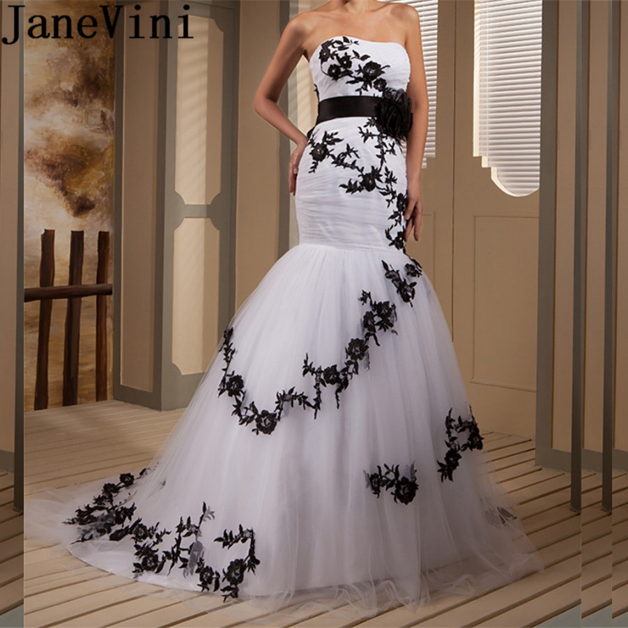 Us 2290 45 Offjanevini White Tulle Mermaid Wedding Dresses With Black Lace Appliques Sweep Train Ribbon Sash Bridal Gowns Robe Blanche Mariage In