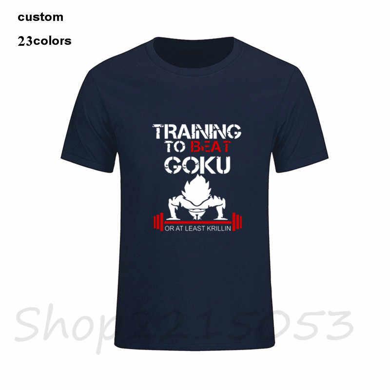Embarques da gota Masculino Treinamento Para Vencer Goku De Dragon Ball Z Do Vintage tshirt T Camisas Mangas Curtas Designer Personalizado T-shirt Jovem menino
