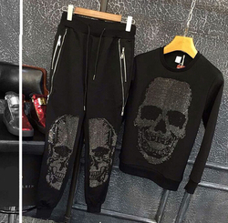 Autumn and Winter  Men's Slim Sanitary Clothes Skull Casual Suit Two-piece Men's Suit