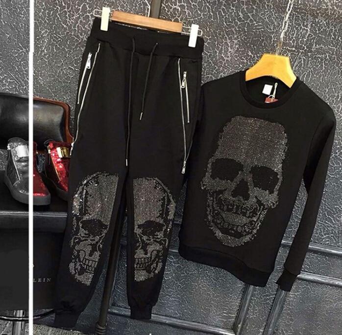 Erkek Kıyafeti'ten Erkek Setleri'de Sonbahar ve Kış erkek Slim Sıhhi Giysiler Kafatası günlük giysi Iki parça erkek Takım Elbise'da  Grup 1