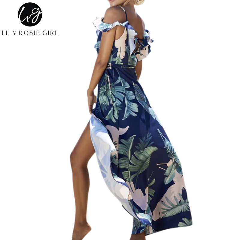 b26b644ea1ba Lily Rosie Girl Navy Blue Floral Print Ruffles Sexy Dress Women Backless  Split Strap Summer Beach Boho Maxi Long Dresses Vestido