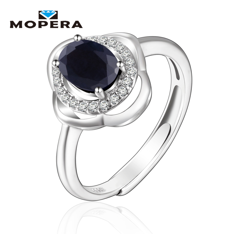 Mopera 100% Natural Gemstone Classic 5*7mm 1ct Sapphire Wedding Ring For Women 925 Sterling Silver Jewelry Romantic Fine Jewelry