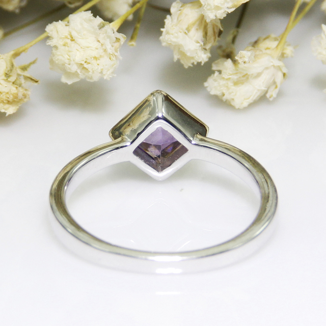 Simffvn Vintage 925 Sterling Silver 5 mm Square Natural Amethyst  Anniversary Ring Engagement Ring Fine Jewelry for Women