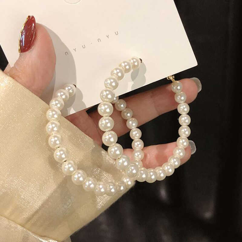 New Fashion Classic Metal Round Women Cross Hoop Earrings Korean Personality Simple Circle Pearl Earrings For Female Jewelry